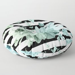Succulents in the Garden Teal Blue Green Gradient with Black Stripes Floor Pillow