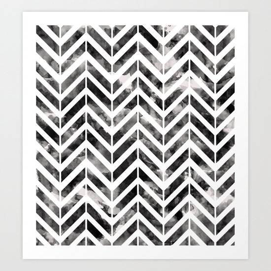 Brush Chevron Art Print