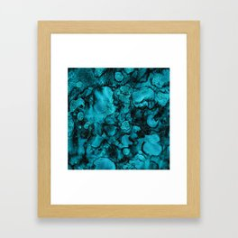 Blue Gemstone and Ink Malachite Glitter Marble Framed Art Print