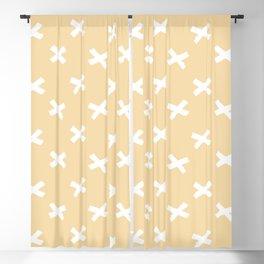 Minimalist X Cross Pattern - Sand Yellow Blackout Curtain