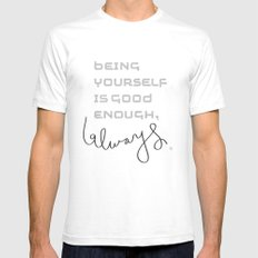 being yourself SMALL White Mens Fitted Tee