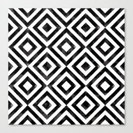Black and white watercolor diamond pattern Canvas Print