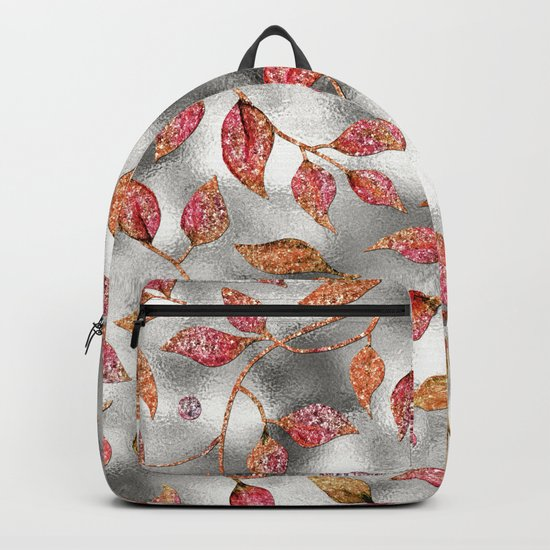 Autumworld- Sparkling pink  glitter leaves on silver background #Society6 Backpack