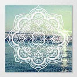Mandala : Teal Sea Sunset Canvas Print