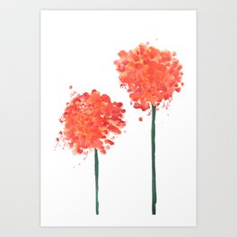 2 abstract geranium flowers Art Print