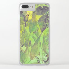 flowers pattern green #flowers #flora #pattern Clear iPhone Case