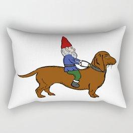 Gnome Riding a Dachshund Rectangular Pillow