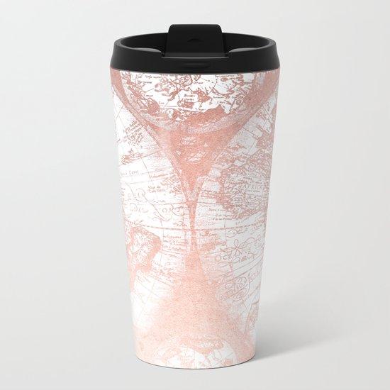 Rose Gold Pink Antique World Map by Nature Magick Metal Travel Mug