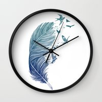 fly Wall Clocks featuring Fly Away by Rachel Caldwell