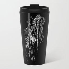Tribal Horse white on black Travel Mug