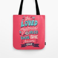 paper towns Tote Bags featuring Paper Towns: Mysteries by Risa Rodil