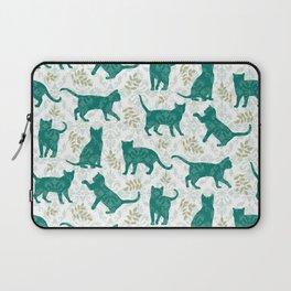 Damask Green Cats Laptop Sleeve