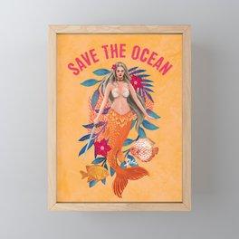 Warrior Mermaid - Save The Ocean Framed Mini Art Print