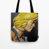 he man Tote Bags featuring HE-MAN by John McGlynn