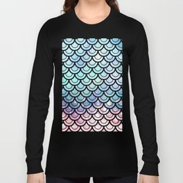 Mermaid Scales Turquoise Pink Sunset Long Sleeve T-shirt
