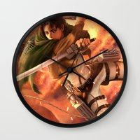 levi Wall Clocks featuring Captain Levi by Nikittysan