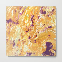 Orange Purple Pour Painting Metal Print