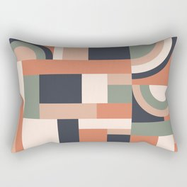 Earth Tones Blocks Rectangular Pillow