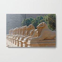 Avenue of the ram-headed Sphinxes in Karnak Temple Metal Print