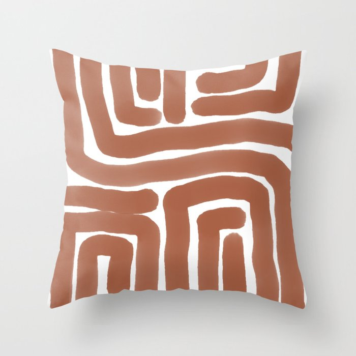 Bronze Lines Abstract Print Throw Pillow