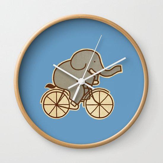 Elephant Cycle - colour option Wall Clock