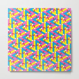 Triangle Optical Illusion CMY + red Metal Print