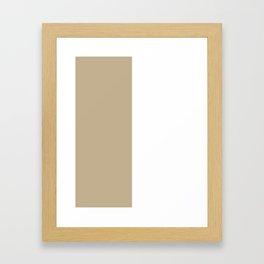 White and Khaki Brown Vertical Halves Framed Art Print