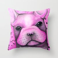 frenchie Throw Pillows featuring Frenchie  by ClarissaLynnArt