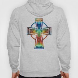 Colorful Celtic Cross by Sharon Cummings Hoody
