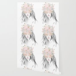 She Wore Flowers in Her Hair Rose Gold by Nature Magick Wallpaper