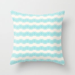 Blue circles over beige Throw Pillow