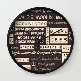 Afrikaans Bruin Wall Clock