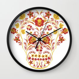 Skull Khokhloma Wall Clock