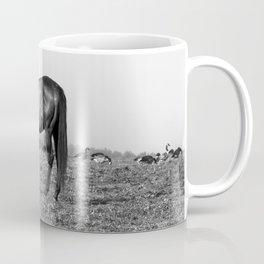 Black Horse Grazing w/ Geese Coffee Mug