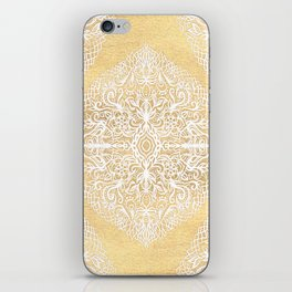 White Gouache Doodle on Gold Paint iPhone Skin