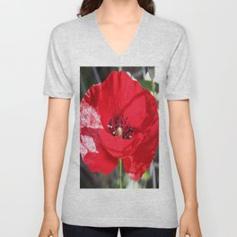Single Red Poppy Flower  Unisex V-Neck