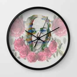 girl and flowers color Wall Clock