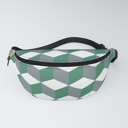 Diamond Repeating Pattern In Quetzal Green and Grey Fanny Pack