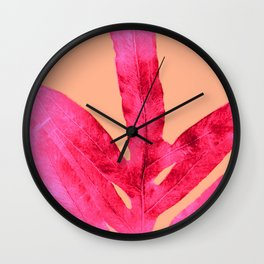 Peach Pink Ferns, Living Coral Wall Clock