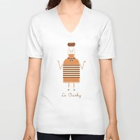 whisky V-neck T-shirts featuring Le Ouisky by Teo Zirinis