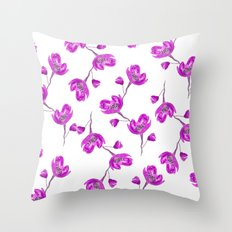 Purple lavender hand painted watercolor flowers floral pattern Throw Pillow