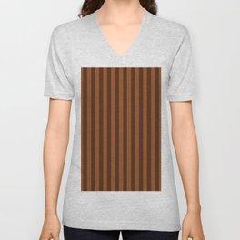 Brown Stripes Pattern Unisex V-Neck