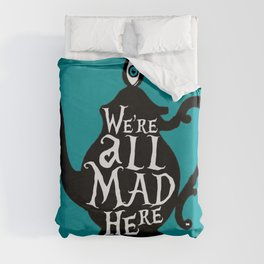 """""""We're all MAD here"""" - Alice in Wonderland - Teapot - 'Alice Blue' Duvet Cover"""