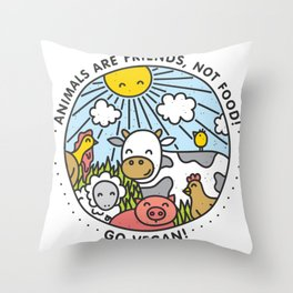 Animals are friends, not food Throw Pillow