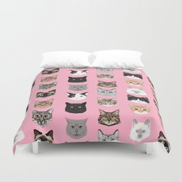 Cute Cat breed faces smiling kitten must have gifts for cat lady cat man cat lover unique pets Duvet Cover