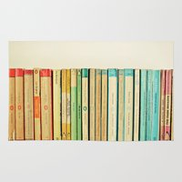 bookworm Area & Throw Rugs featuring Birds on Parade by Cassia Beck