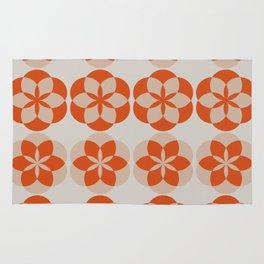 Mandala Flowers - orange and beige Rug