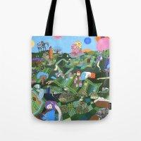 giants Tote Bags featuring Sleeping Giants by Valeriya Volkova