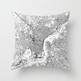 Philadelphia White Map Throw Pillow