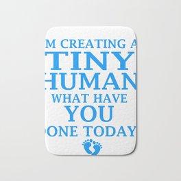 Funny Pregnant Design Creating Tiny Human Blue Bath Mat